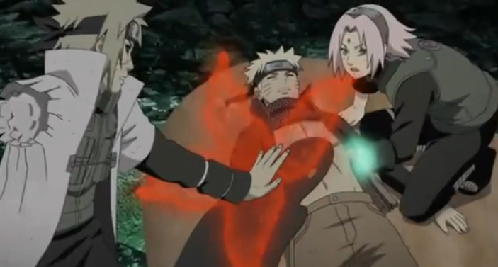 Black Zetsu stealing Yin Kurama from Minato.