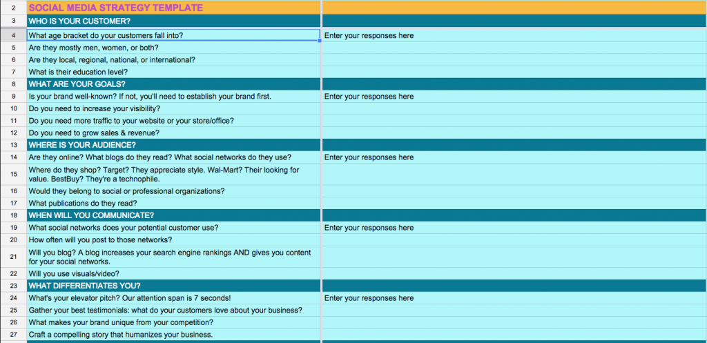 Social Media Strategy Template Spreadsheet  Social Media