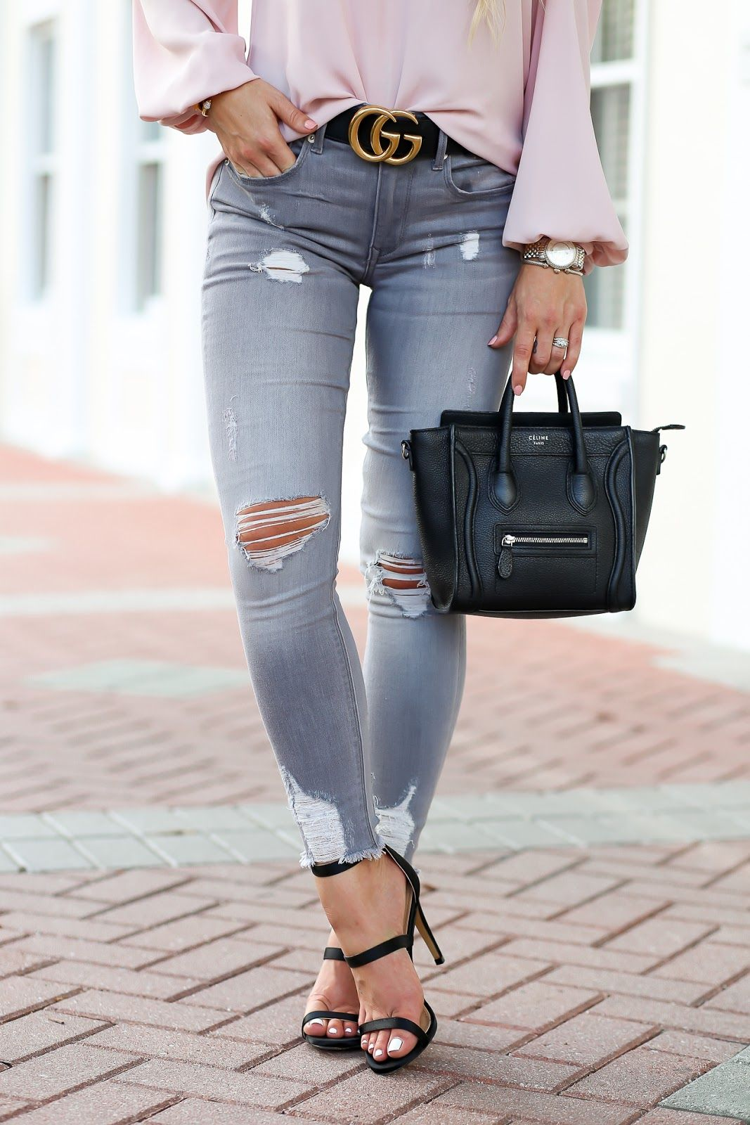 Styled Adventures  Casual Chic Style  Blush   Gray with black Celine Nano  luggage and Gucci belt. 03e0e1313dca3