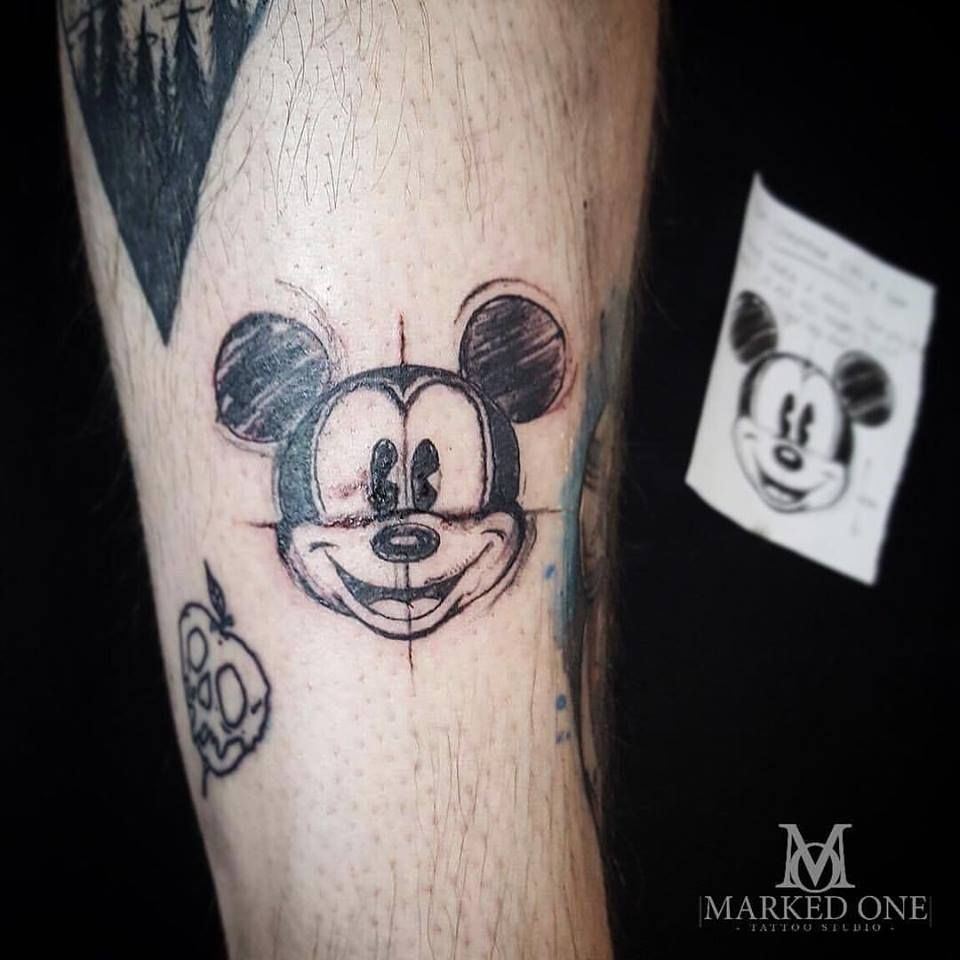 Classic Mickey Mouse Sketch Tattoo By Abbie Jago At Marked One