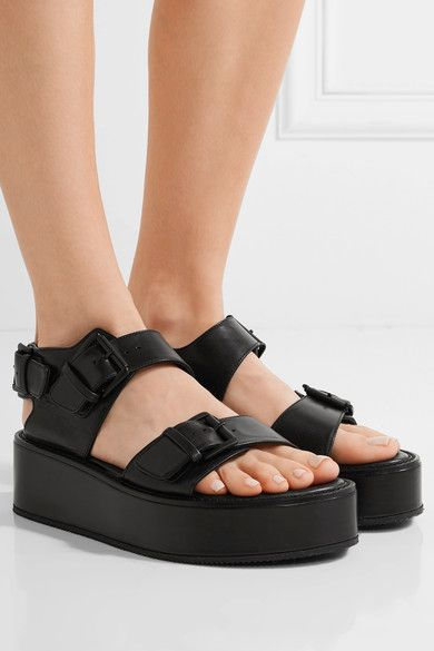 ANN DEMEULEMEESTER Leather Platform Sandals FoATUY9