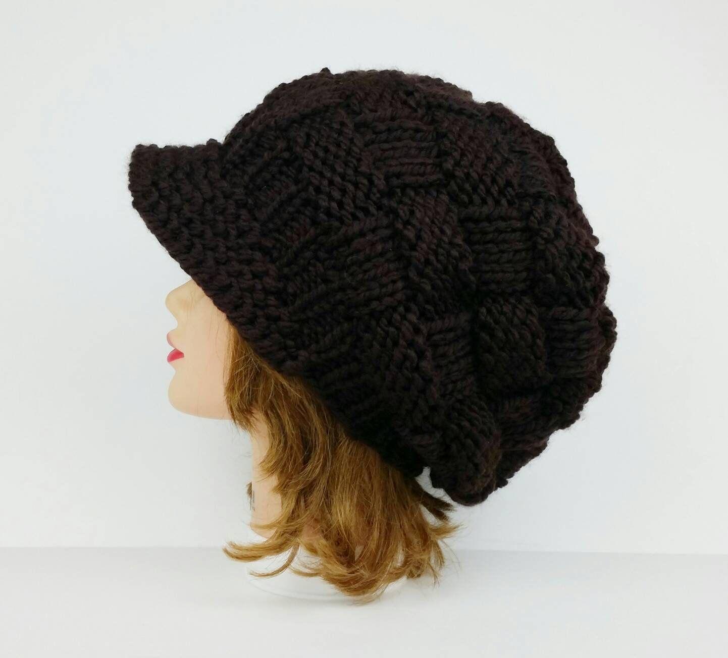 Brown Newsboy Hat Visor Beanie Chunky Knit Hat Women Visor Hat Winter Hats For Women Slouchy Hat With Bri Chunky Knit Hat Crochet Newsboy Hat Knitted Hats