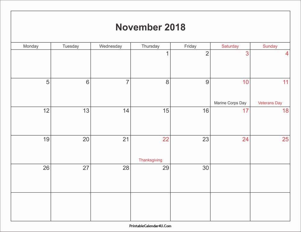 November 2018 Calendar With Holidays Calendar Printables