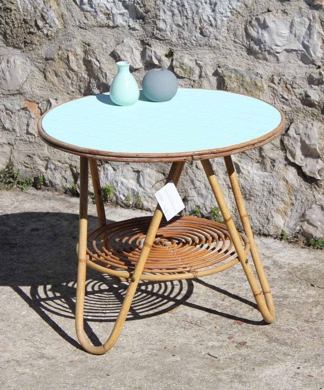 table basse en rotin vintage mint meubles et rangements par serenisse la casa pinterest. Black Bedroom Furniture Sets. Home Design Ideas