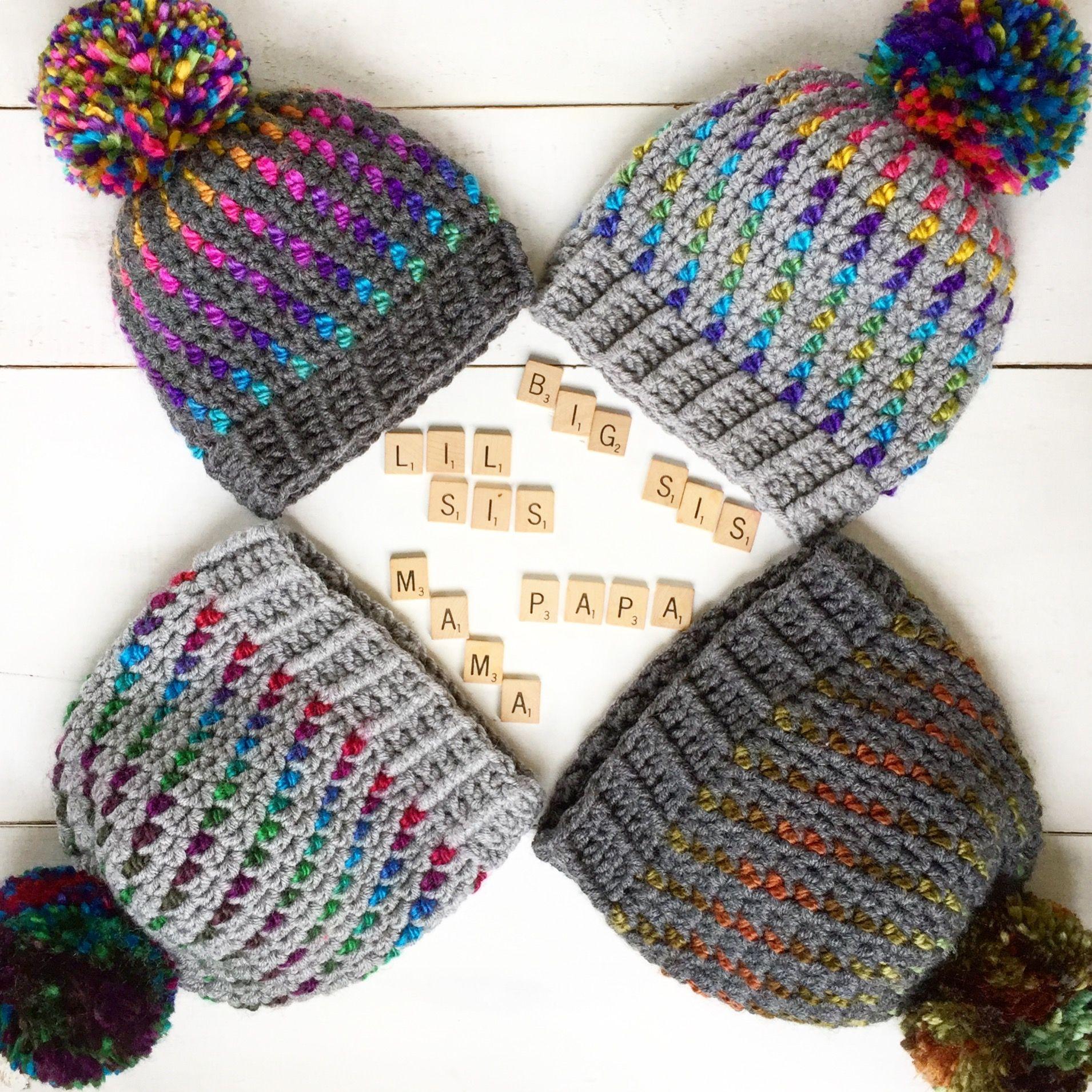 Crochet Hat Pattern - Northern Lights Pom Pom Hat Crochet Pattern ...