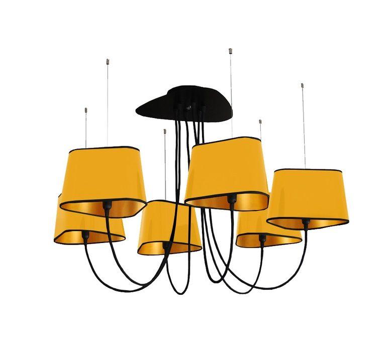 Lustre 6 petit Nuage jaune et or ˜94 cm Designheure