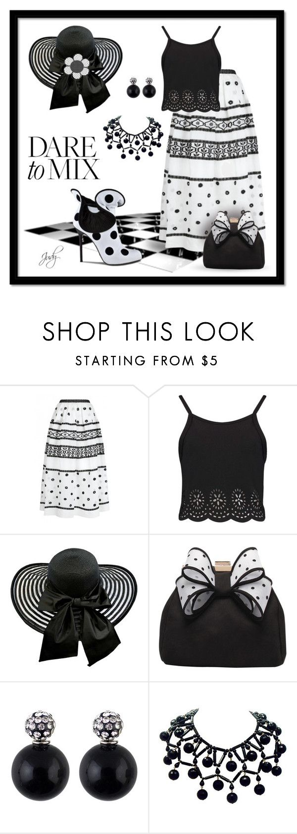 """Dots, Patterns, Stripes in B/W"" by judymjohnson ❤ liked on Polyvore featuring Temperley London, Sergio Rossi and Miss KG"