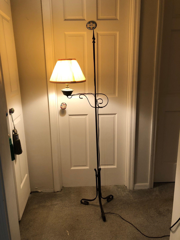 Antique Lamp Floor Lamp Wrought Iron Lamp Adjustable Floor Etsy Iron Lamp Wrought Iron Floor Lamps Floor Lamp