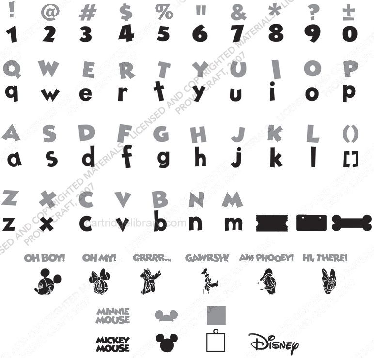 Disney Mickey Font Cricut Cartridge | Cricut Library