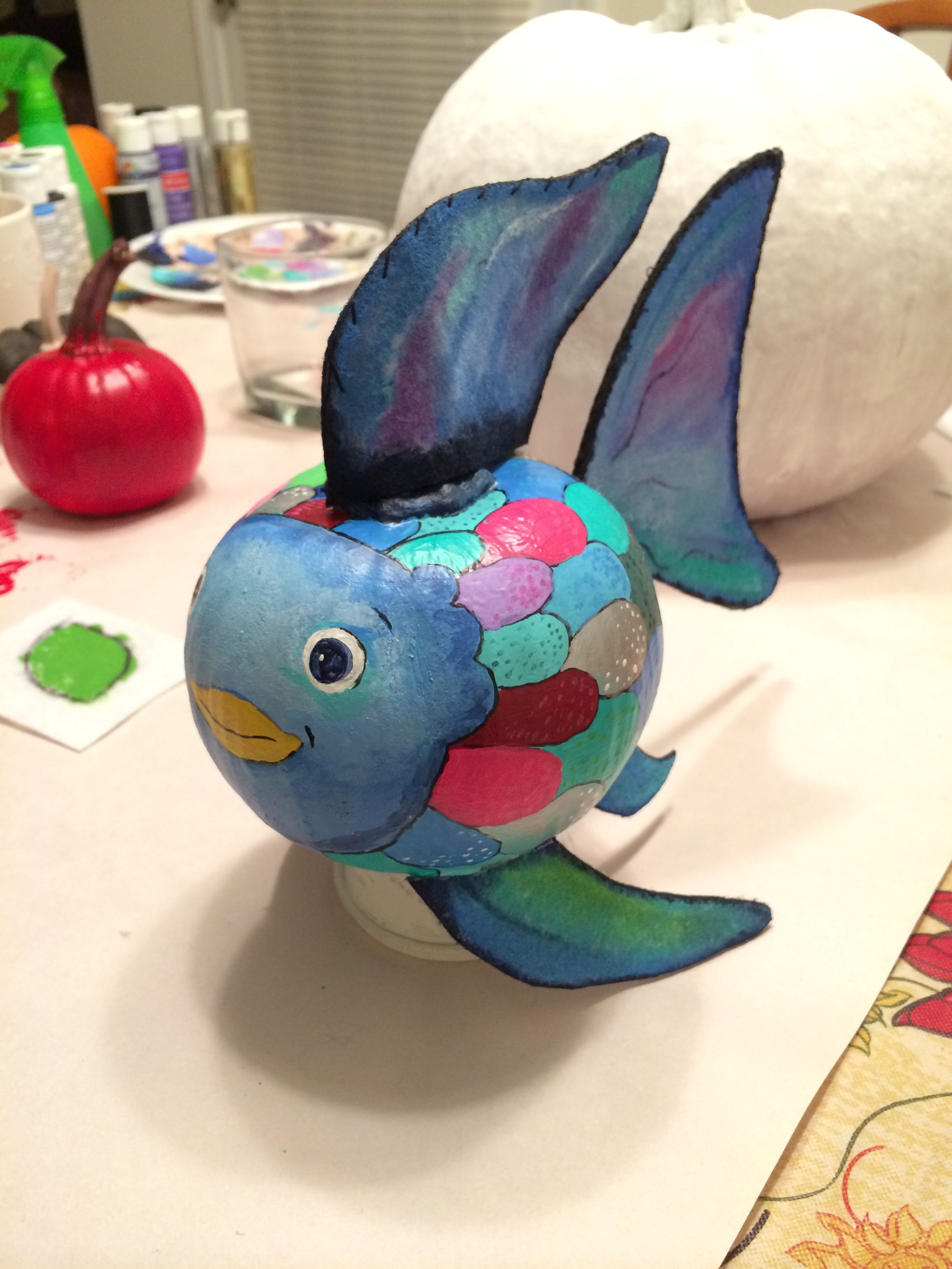 The Rainbow Fish Hand Painted Pumpkin