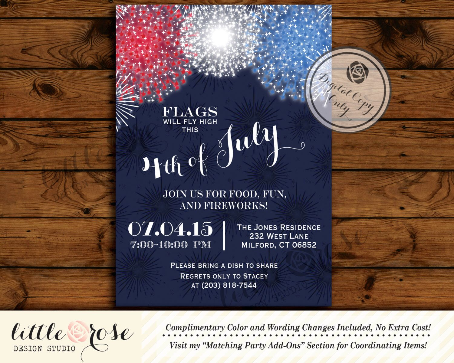 birthday party invitations printable%0A Fourth of July Party  Memorial Day Invite  Labor Day Invitation  of July  BBQ  Birthday  Patriotic  Fireworks  Printable