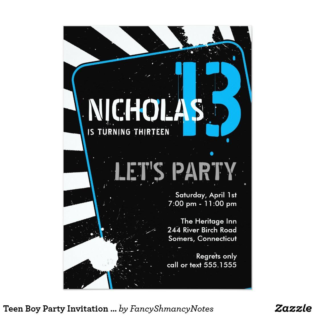Teen Boy Party Invitation Blue Zazzle Com In 2019 Teen Boy