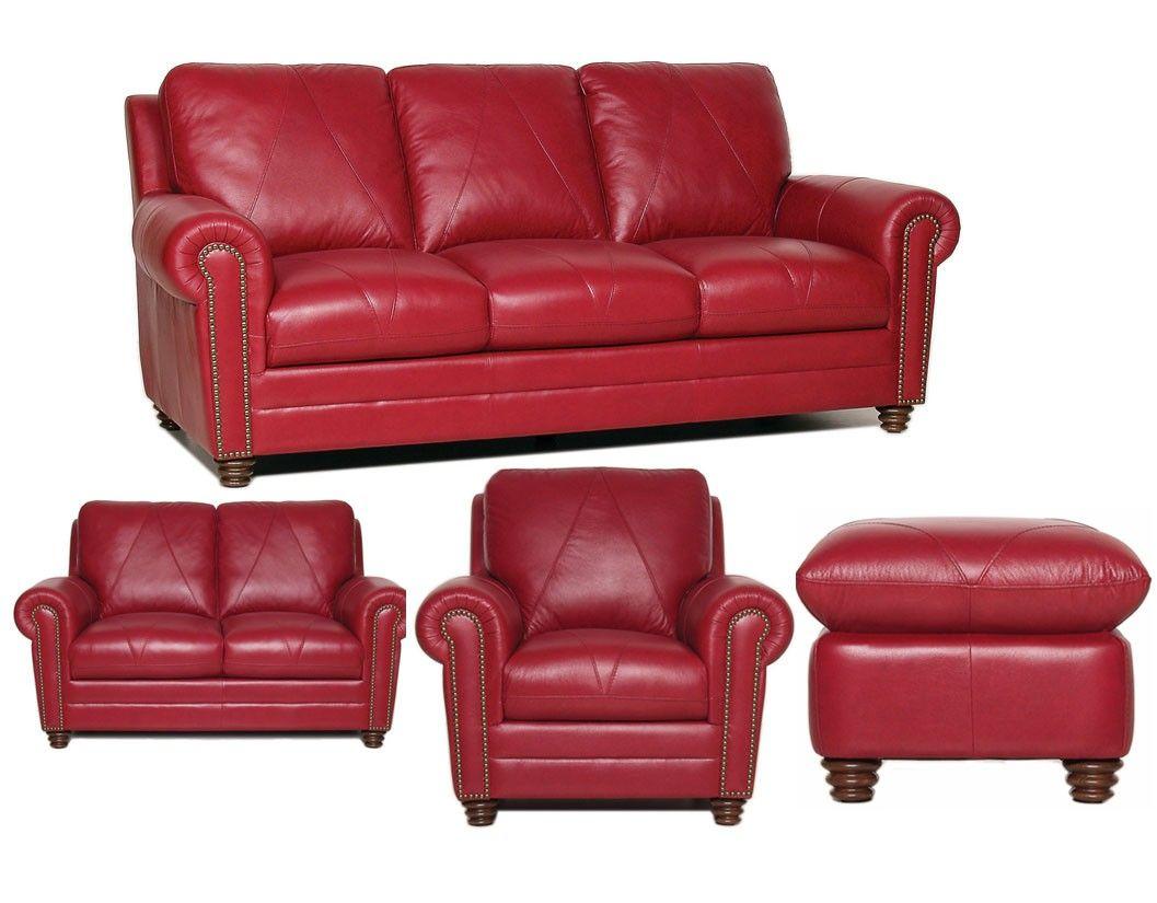 luke leather weston 4 piece red italian leather sofa set sofas rh pinterest com