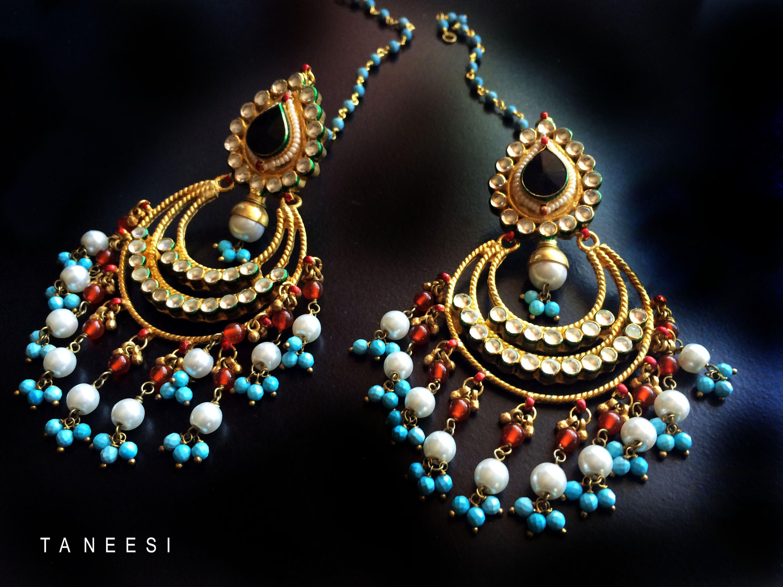 Gold kundan earrings,Black onyx Turquoise Blue Pearl Chandelier ...