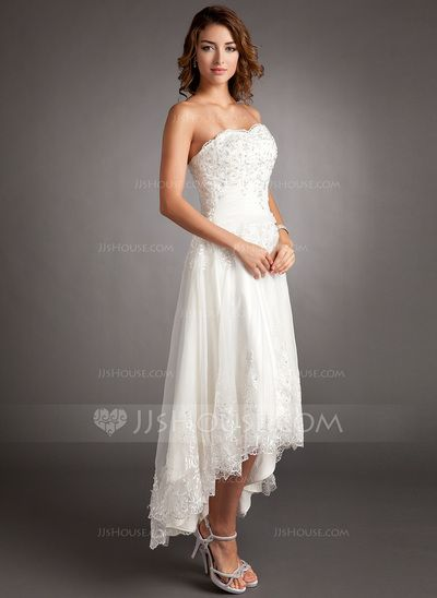 A-Line/Princess Sweetheart Asymmetrical Tulle Wedding Dress With ...