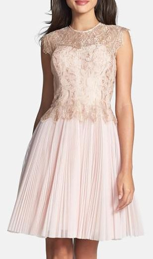 Nordstrom  Ted Baker London Metallic Lace Overlay Fit & Flare Dress