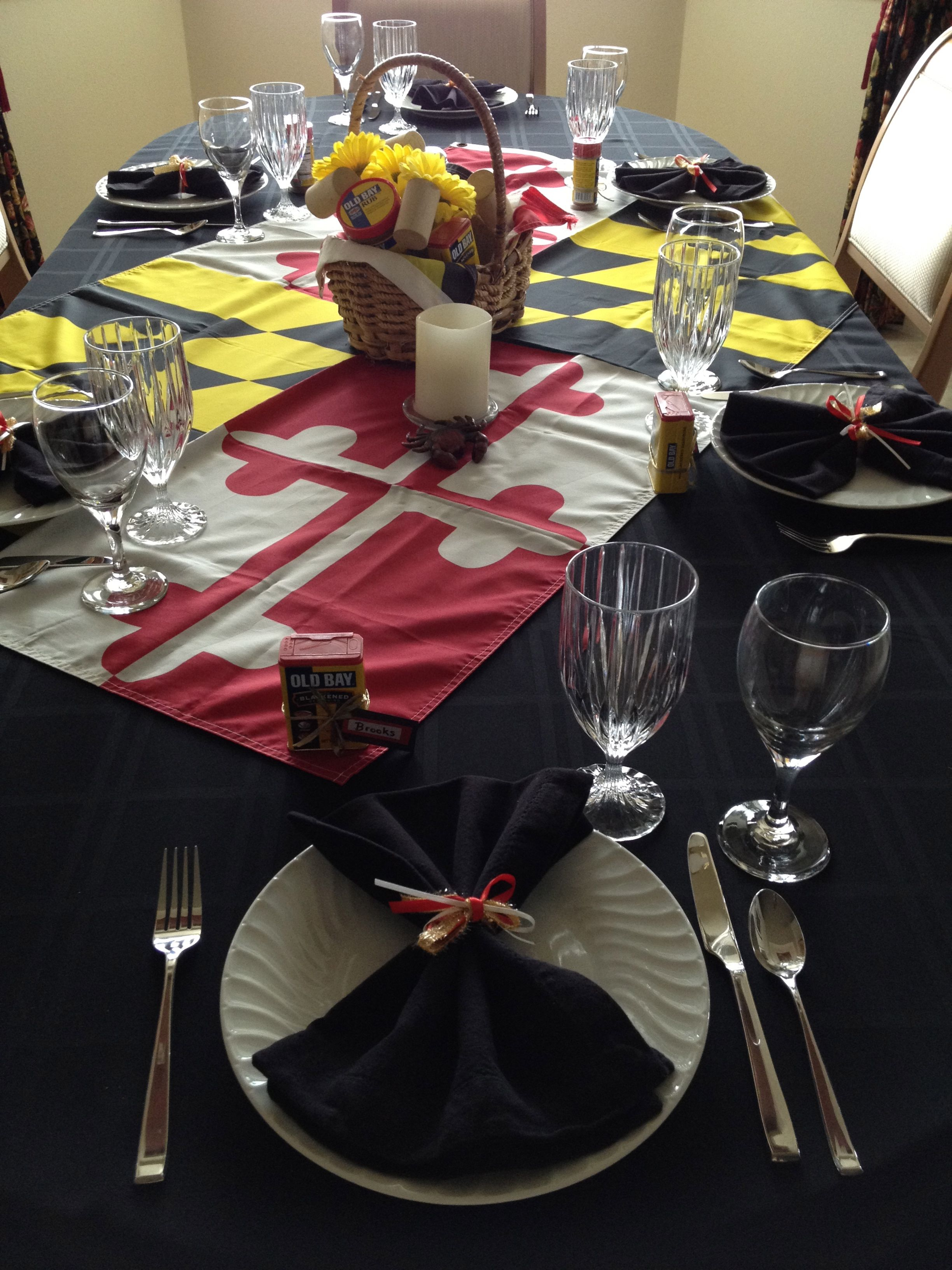 Create a tablescape with a Maryland Flag