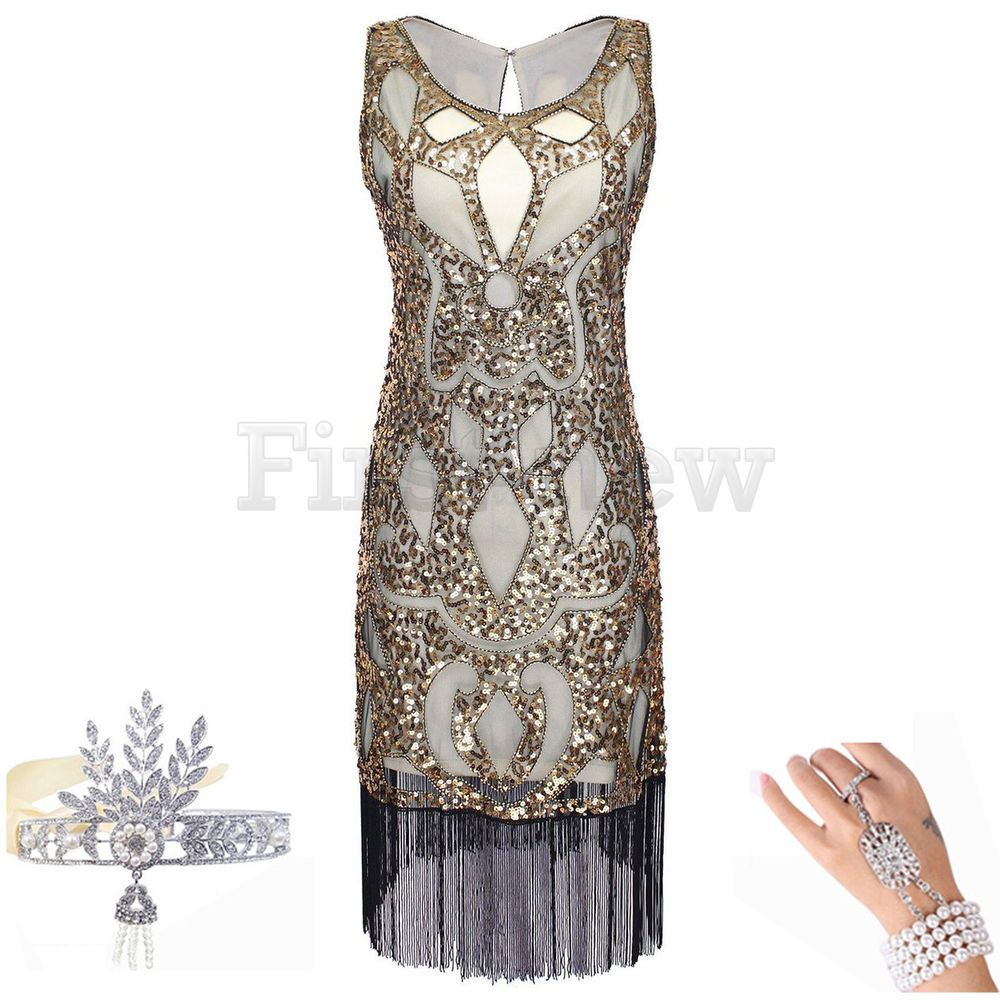 1920s Dress Great Gatsby Charleston Flapper Party Sequin Tassel ...