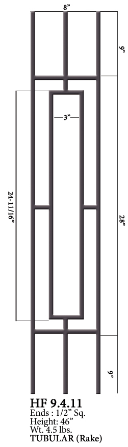 HF9.4.11 One Rectangle Rake Tubular Steel Panel | Westfire Stair Parts
