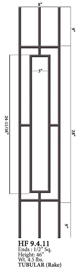 Elegant HF9.4.11 One Rectangle Rake Tubular Steel Panel | Westfire Stair Parts