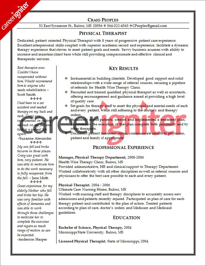 Physical Therapist Resume Sample Resume Pinterest Sample