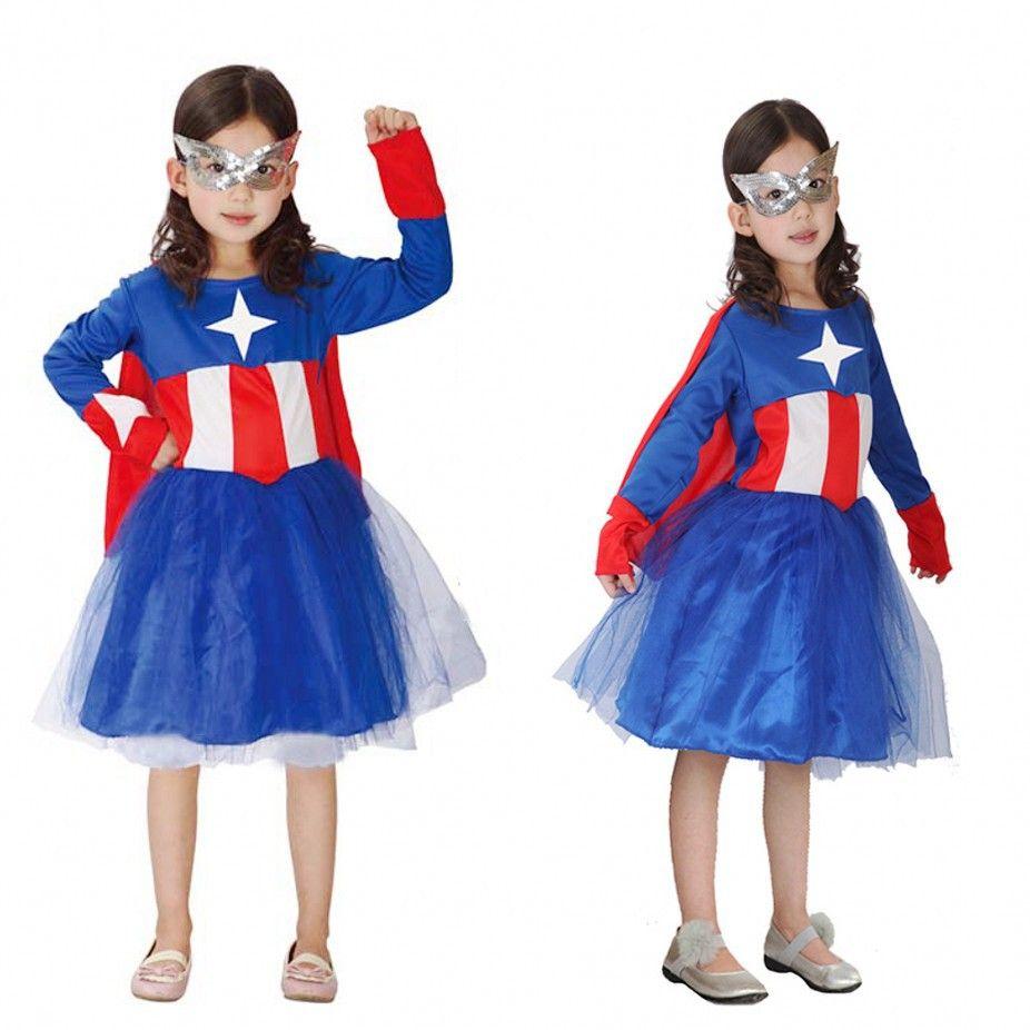 Click to buy ucuc girls captain america super hero kids fancy dress