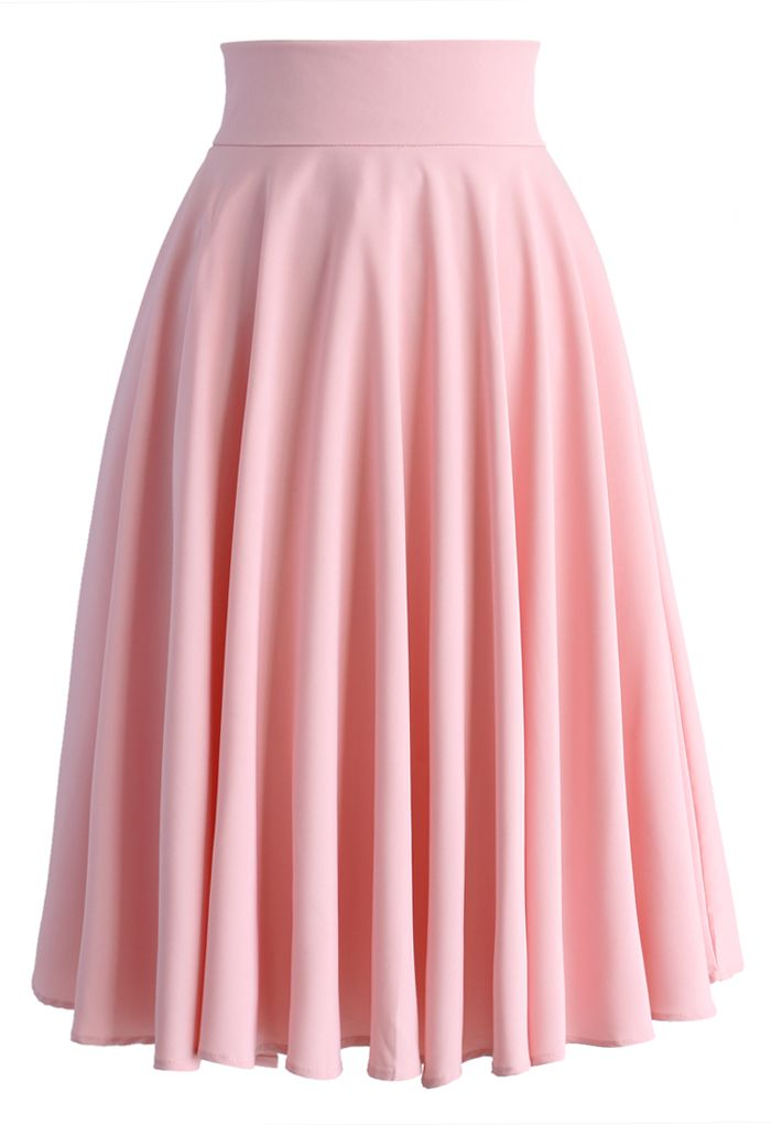 Creamy Pleated Midi Skirt in Pink - New Arrivals - Retro 3a42515d0100