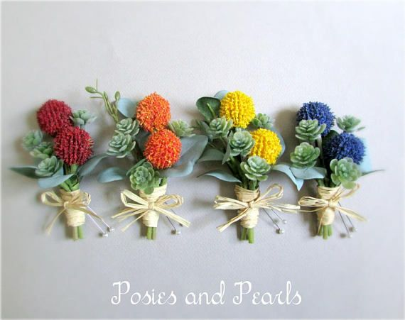 Craspedia Boutonnieres Billy Buttons In Yellow Orange Red Or Blue Green Succulent Groom S Boutonniere Groomsmen Constant Billy Buttons Boutonniere Groom Boutonniere