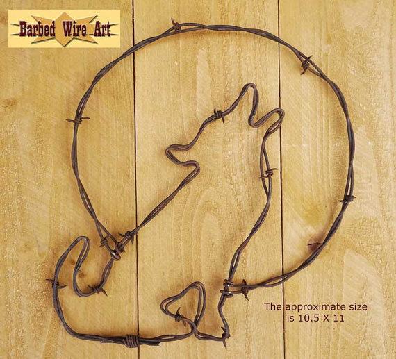 Coyote and Full Moon II - Handmade metal decor barbed wire art ...