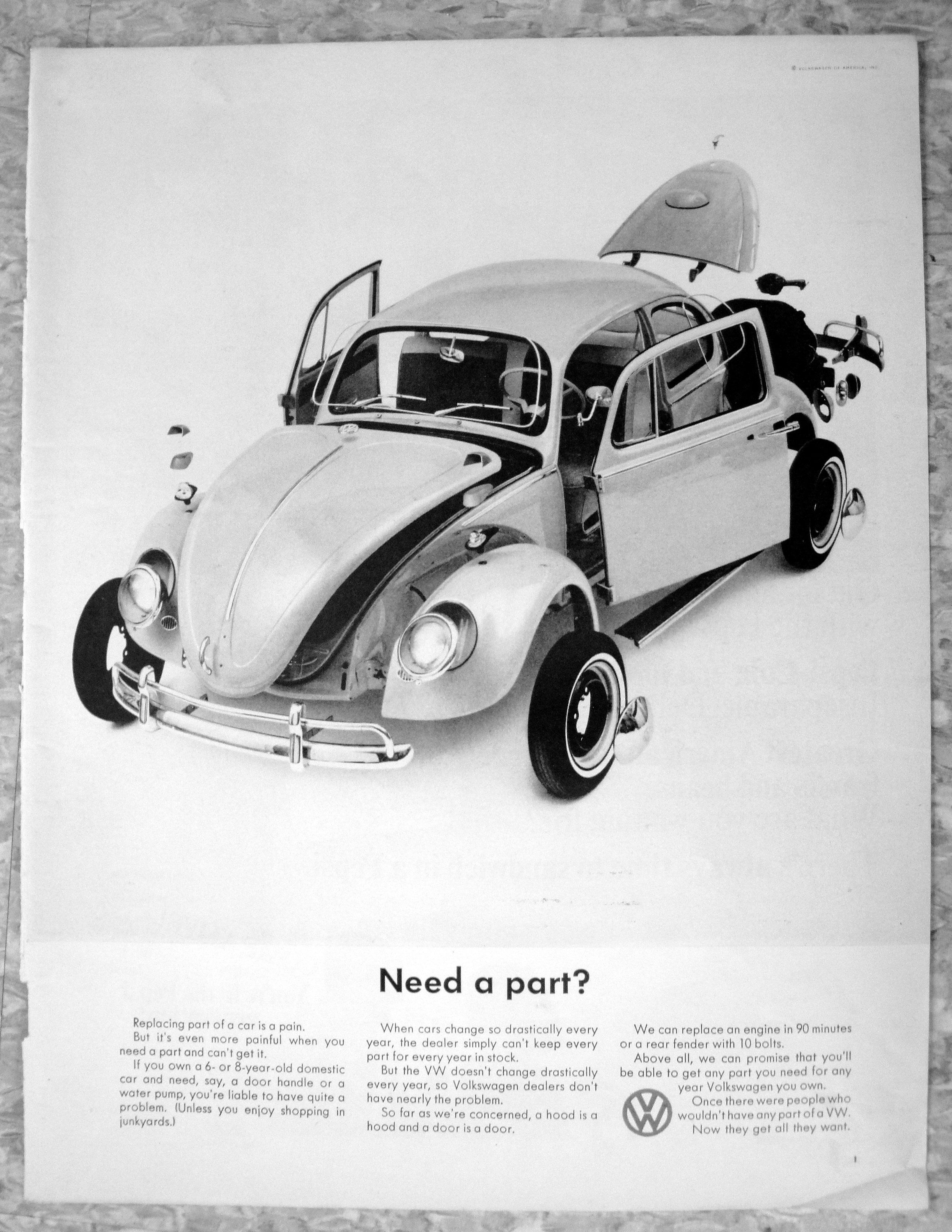 1966 Vw Beetle Bug Need A Part They Don T Change Etsy Volkswagen Beetle Vintage Volkswagen Car Print Ads