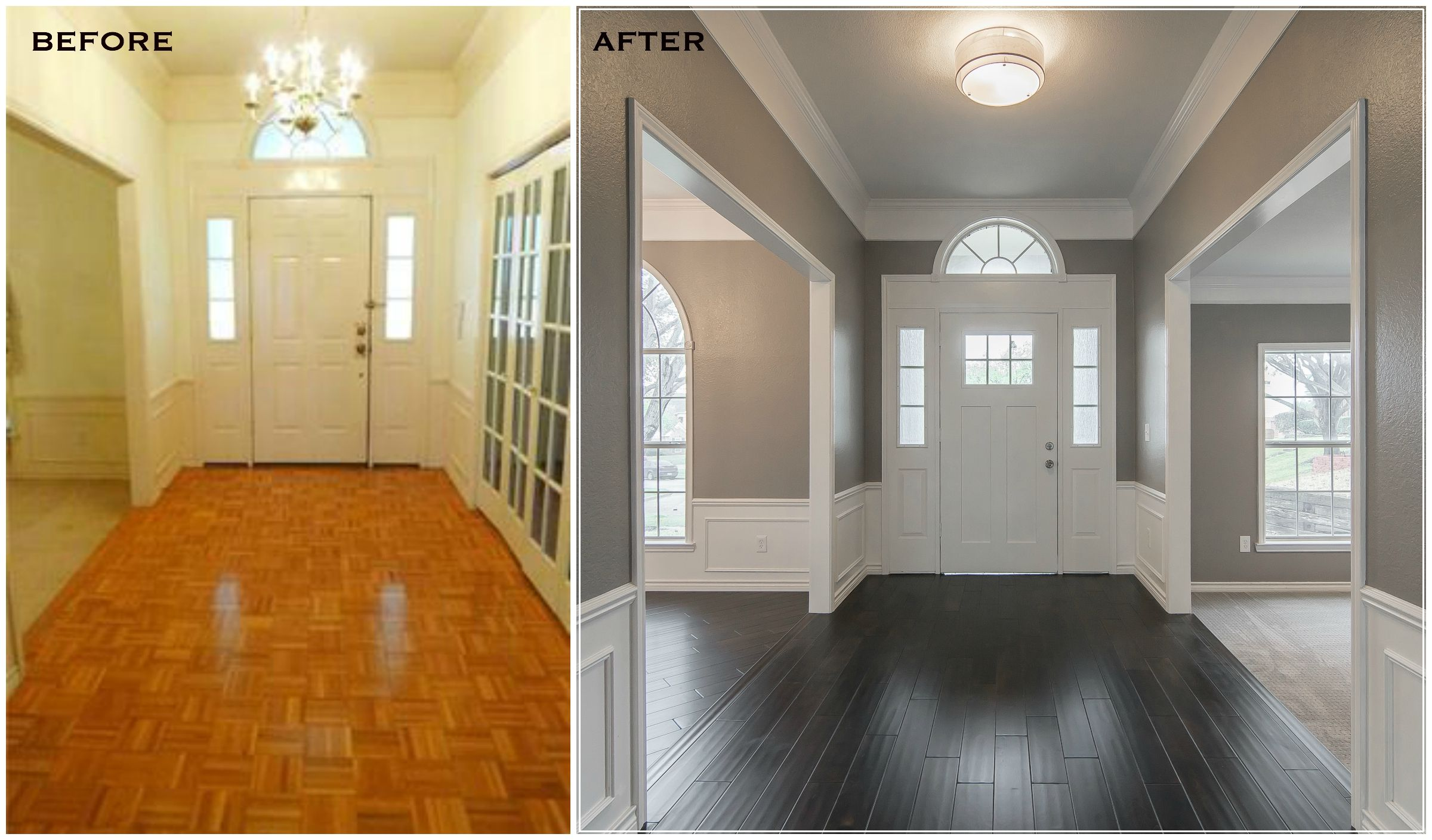 Modern Chair Rail White Covers With Royal Blue Sashes Entry Remodel Renovation Make Over Dark Wood Floors