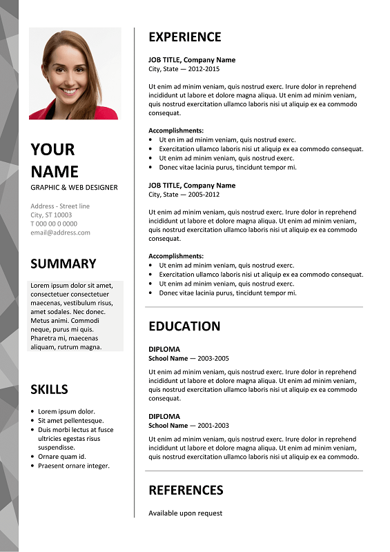 Dalston Free Resume Template Microsoft Word  Gray Layout