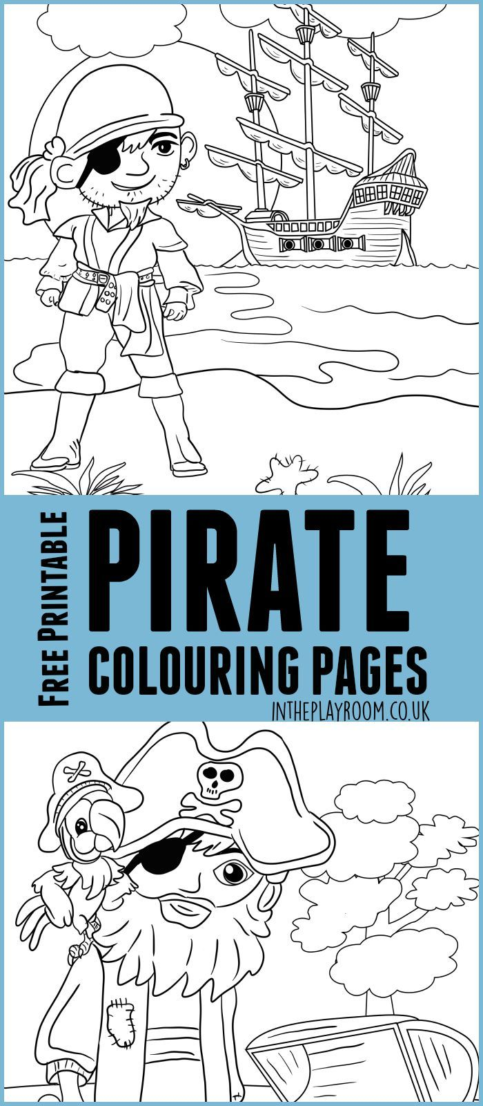 Pirate Colouring Pages for Kids | kindergarten | Pinterest | Free ...