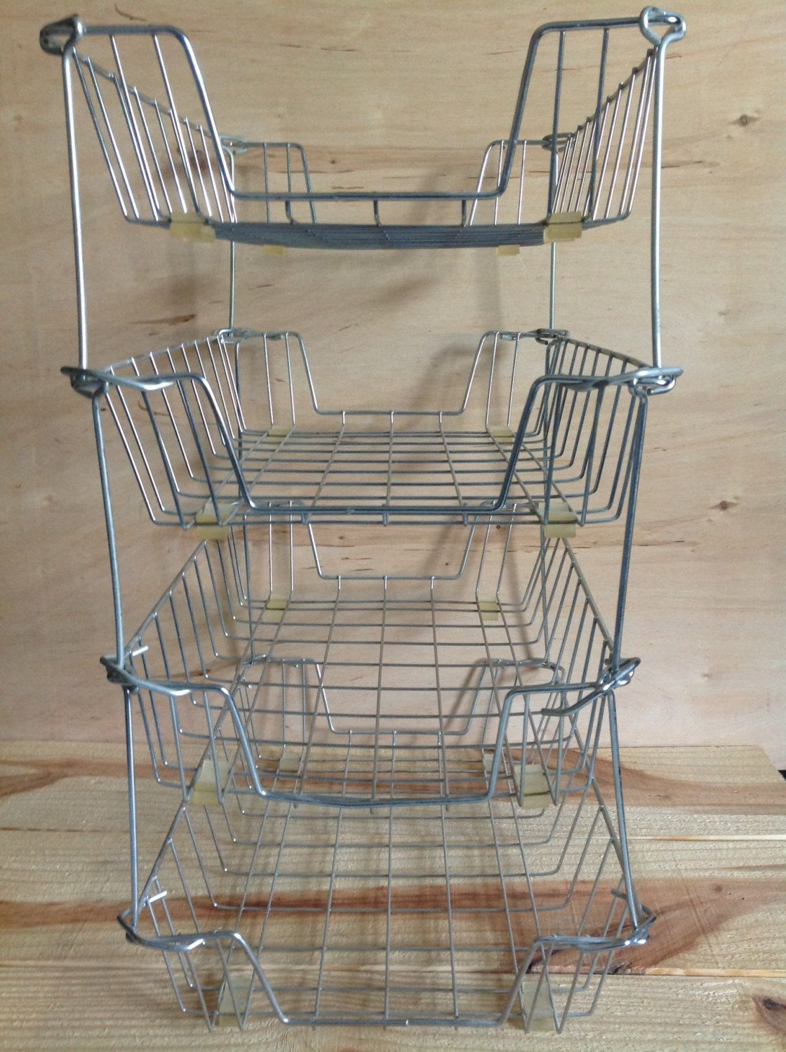 Desk Organizer 4 Tier Industrial Chic Metal Letter Shelving Office Tray  Stackable Bin. $40.00, Via Etsy.