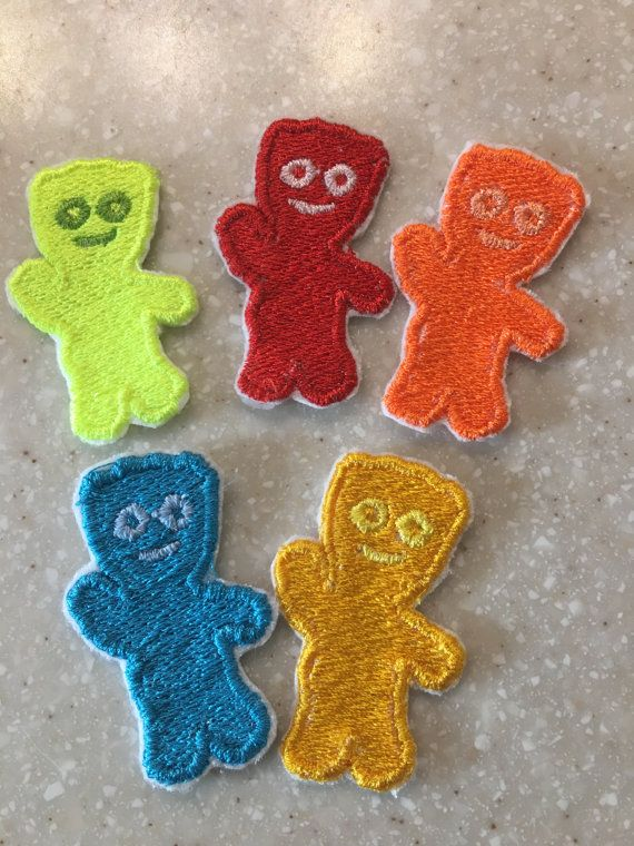 Set Of 5 Sour Patch Kids Embroidered Patches Iron On Patch Sew On Patch This Item Is A Set Of 5 Kids In The Col Sour Patch Kids Disney Patches Sew On Patches