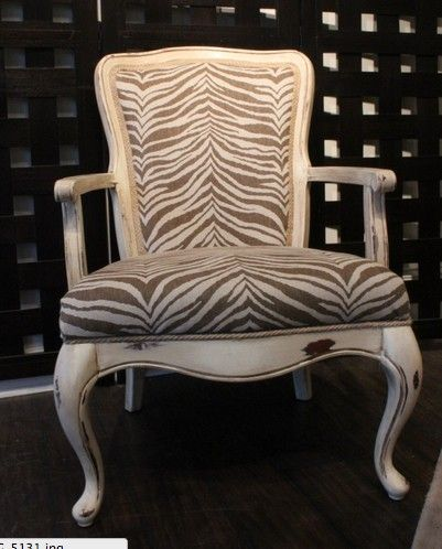 Upholstered Armed French Chair Fabric Brown Zebra   Wood Distressed White