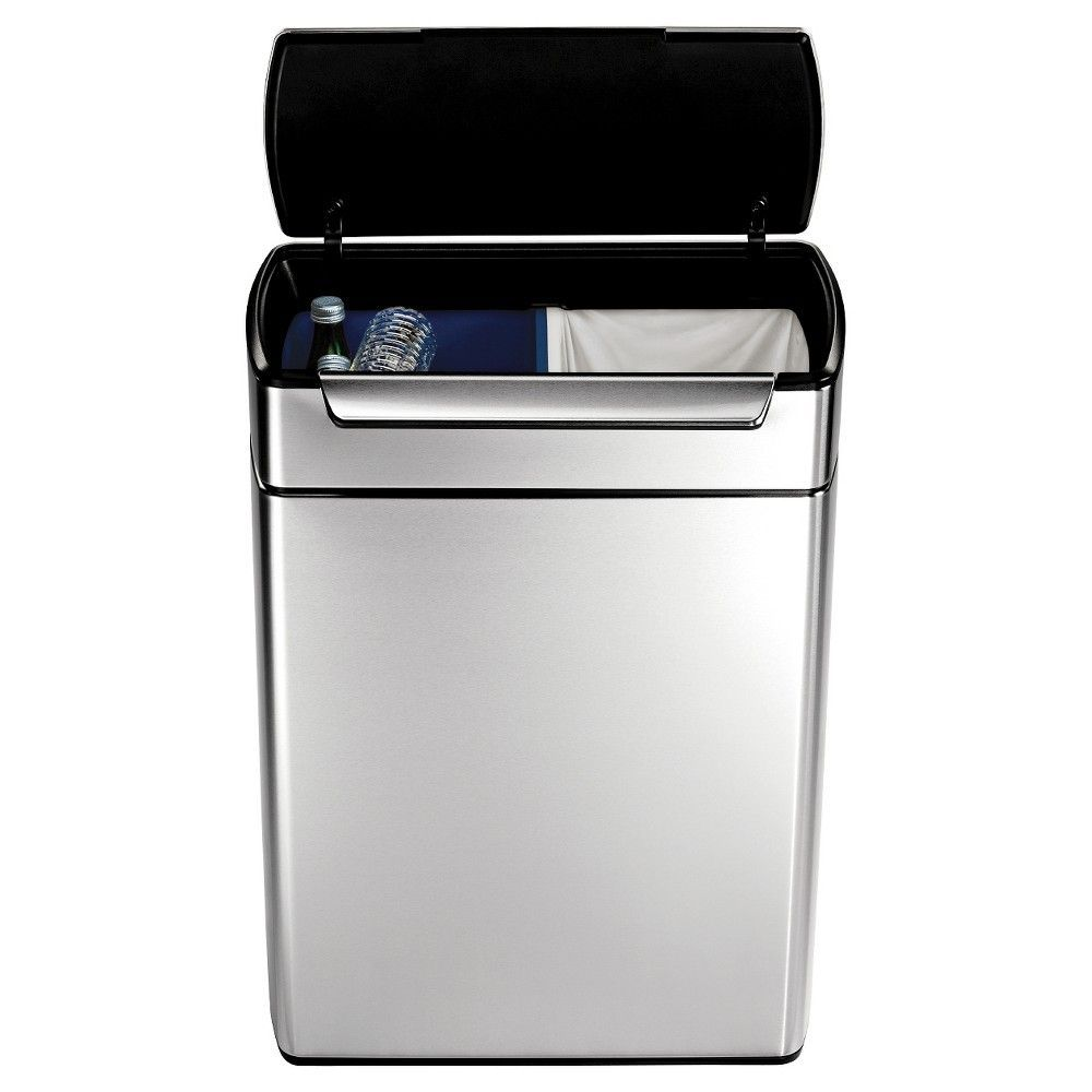 simplehuman 48 Liter Rectangular Touch-Bar Recycler in Fingerprint-Proof Brushed Stainless Steel, Silver