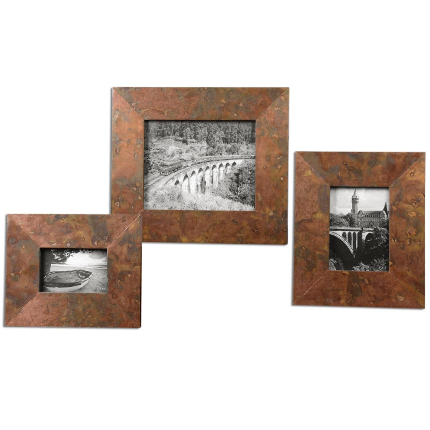 Set Of 3 Handcrafted Alexius Mottled Oxidized Copper Photo Picture
