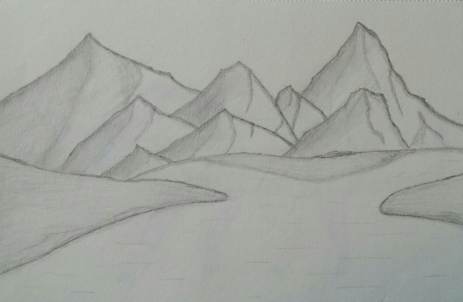 Landscape With Hills Mountains And A River Ganesh Art My Drawings Drawings