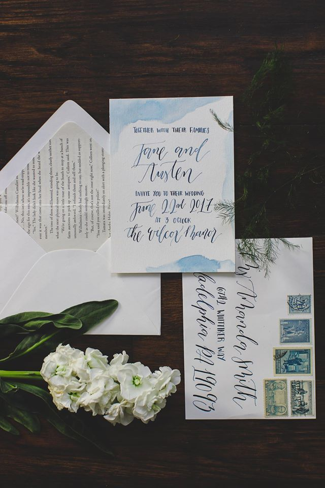 summer wedding invitation wording%0A Blue watercolor wash details and hand lettering calligraphy for a summer  wedding invitation  Includes minimal