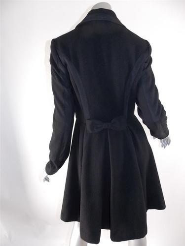 230584f35b6c Betsey Johnson SZ 4 Black Wool Blend Bustle Bow Swing Coat Jacket ...