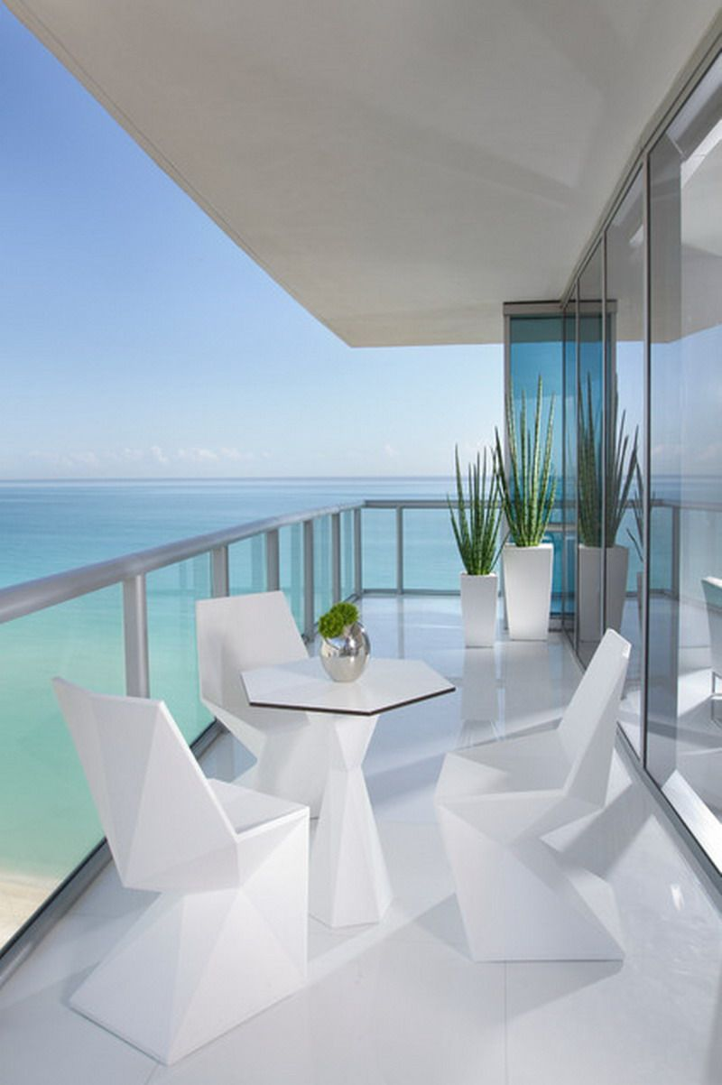 Custom Modern White Miami Beach Patio Furniture In Condo Style