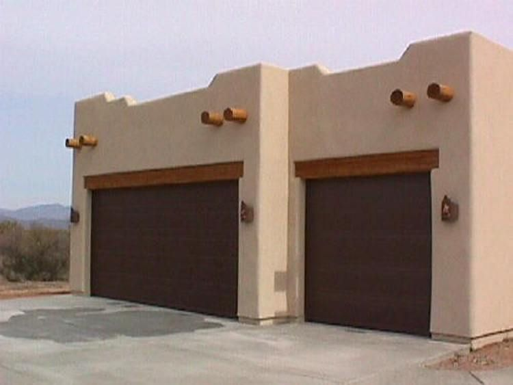 Nice Exposed Header Beams With Stucco | Free Standing Three Car Southwest Santa  Fe Garage With Rough