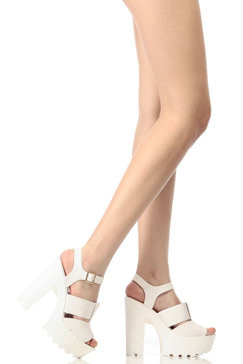 e8e627e723e White Faux Leather Open Toe Chunky Lug Sole Heels   Cicihot Heel Shoes  online store sales Stiletto Heel Shoes