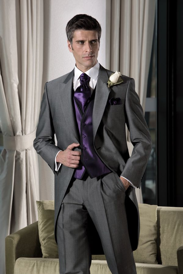 tuxedo for men bridegroom dress gray suits long tail for wedding ...