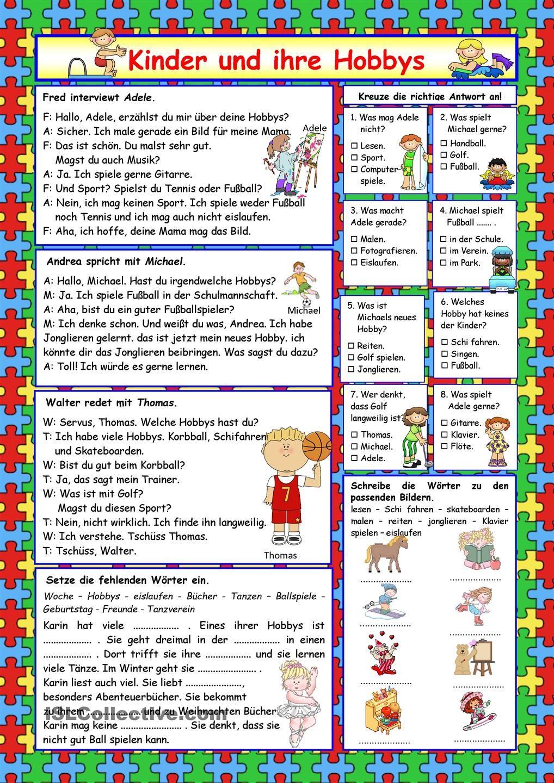 Kinder und ihre Hobbys (+Lösung) | kids | Pinterest | German ...