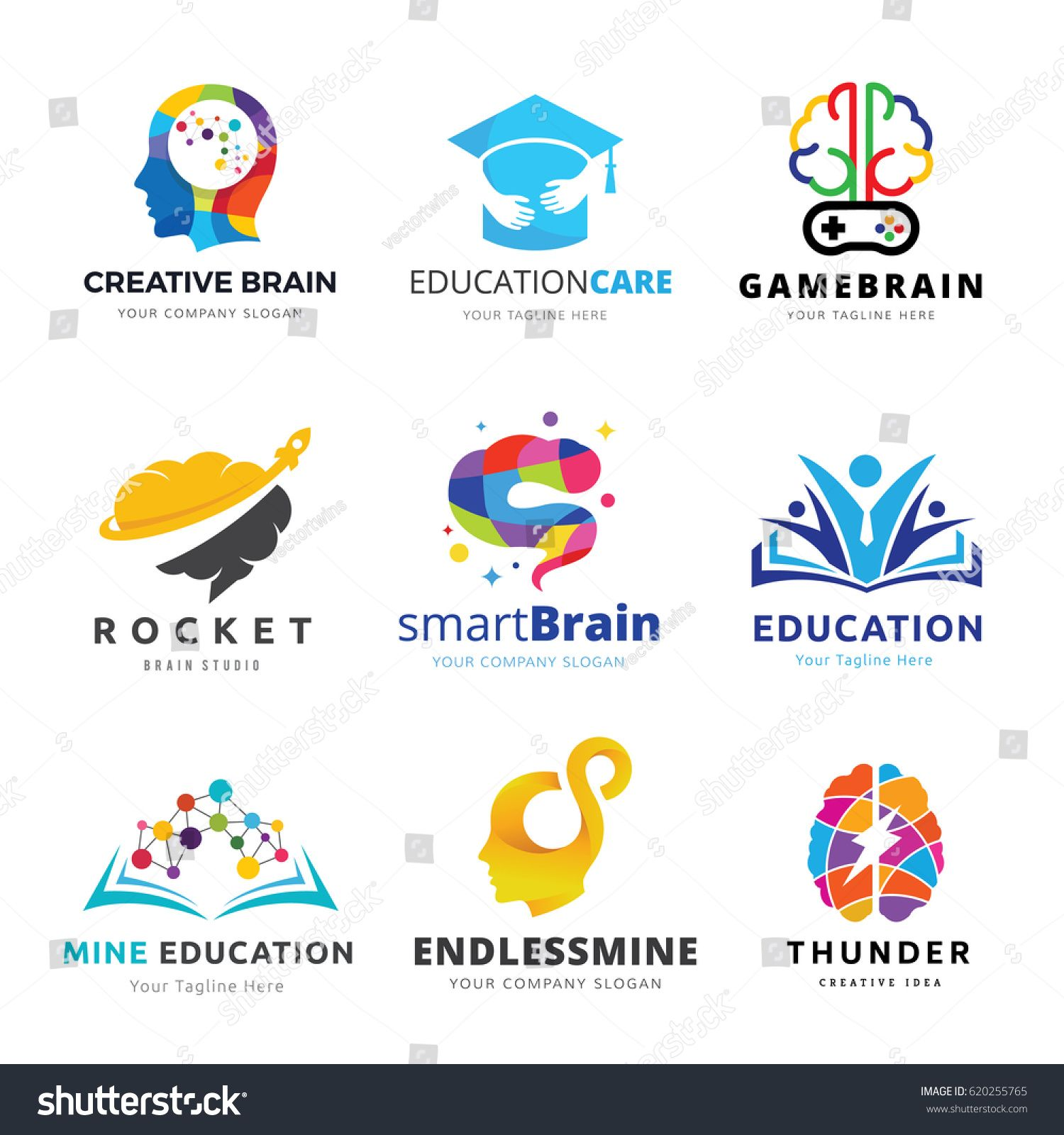 Brain Logo And Creative Learning Icon Set Vector Illustrations