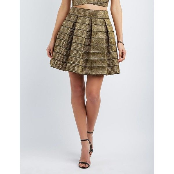 Charlotte Russe Metallic Bandage Skater Skirt ($12) ❤ liked on Polyvore featuring skirts, gold metallic, metallic gold skater skirt, skater skirt, charlotte russe, zipper skirt and charlotte russe skirts