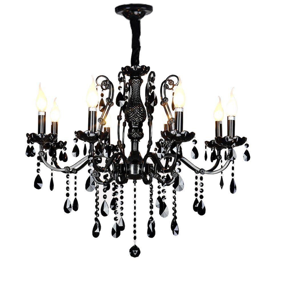 Poersi Black Crystal Chandelier Kitchen Lighting Wrought Iron
