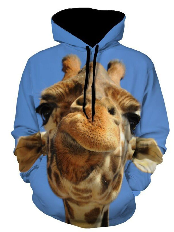 ac0c08519c4c 3D Giraffe Print Pullover Hoodie - BLUE 2XL